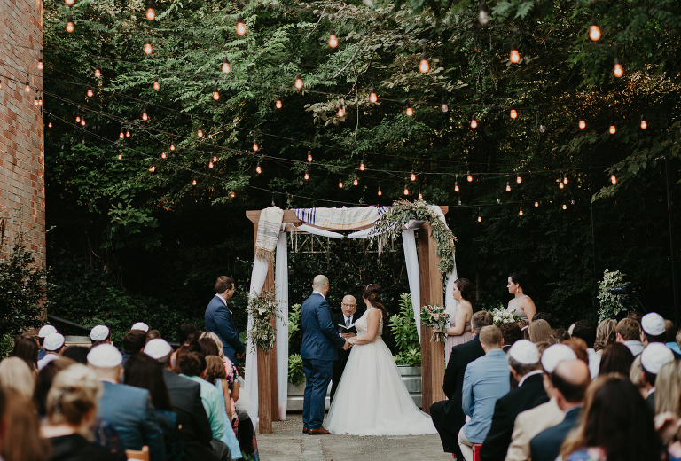 Venue Monday Night Brewing Dress Atlanta Bride Couture Planner Graywind Weddings Officiant Rabbi Steve Lebow Catering Cater With Three Sisters